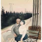 370  Hans Grundig, Paar auf einer Bank sitzend - Dresdner Heide. 1925. 5.500 - 6.000 €