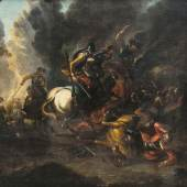 10 - Georg Philipp Rugendas Schlachtenszene. Öl auf Leinwand,  Katalogpreis: 2.500 - 3.000 €