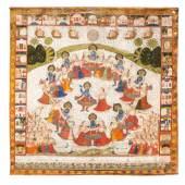 Pichhavai mit Darstellung des «Rasa Lila» Nordindien, Rajasthan, Nathdwara 19. Jh. Tusche, Farben und Gold auf Tuch. Limit 14.000 €