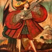 Cuscoschule «Angel Arcabucero (Engel mit Arkebuse)». Peru 17./18. Jh. Öl/Leinwand, auf Hartfaserplatte kaschiert. Limit 6000 €