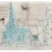 Lyonel Feininger Stadtansicht mit Kirche. 1955. Aquarell und Tusche/Papier. Limit 25.000 €