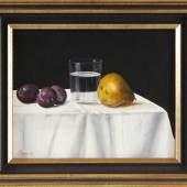 """Joachim Bereuter (1946 Reinbek), Öl/Lw, signiert """"Bereuter"""", """"Stilleben mit Früchten und Wasserglas"""", 24,5x30cm, gerahmt (32,5x38,5cm), Limit 120 Euro"""