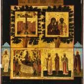 53 - Seltene Ikone mit der Gottesmutter ''Okovickaja-Rzevskaja'' Auktion: 238 - Russian Art & Icons  Russland, 2. Hälfte 18. Jh. Katalogpreis: 700 - 900 €