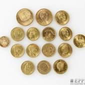 Sammlung Goldmünzen - 16 verschiedene historische Goldmünzen, ca. 117 Gramm fein Aufrufpreis: 3.700,00 €  inkl. Aufgeld