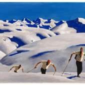 Alfons Walde (Oberndorf 1891–1958 Kitzbühel) Der Aufstieg der Schifahrer, um 1927, signiert A. Walde, Öl auf Karton, 41 x 66 cm, erzielter Preis € 965.300 Weltrekord