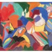 Adolf Hölzels Komposition mit Figuren, ein ausgesprochen reizvolles und hervorragend erhaltenes Frühwerk des in Stuttgart verstorbenen Künstlers, zählt ebenso zu dieser Sektion (Abb. 94025/Limit 10.000 €)