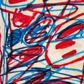 Jean Dubuffets Werk «Mire G 154», Acryl auf Velin, auf Leinwand kaschiert, in den 1980er Jahren in der Galerie Beyeler, Basel, erworben und seitdem in Pariser Privatbesitz, ist eines der Spitzenwerke aus der Mires-Reihe des Künstlers und wird für 85.000 € aufgerufen (Abb. 94610).