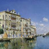 Lot 21Federico del CampoA VIEW OF THE GRAND CANAL WITH THE PALAZZO CAVALLI-FRANCHETTIsigned F. del Campo, inscribed Venezia and dated 1885 (lower left)oil on canvas20 3/4 by 36 in.; 52.7 by 91.4 cmSold for $682,000