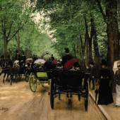 Lot 39 AN AMERICAN IN PARIS: PROPERTY FORMERLY IN THE COLLECTION OF MARGARET THOMPSON BIDDLE Jean Béraud BOIS DE BOULOGNE signed Jean Béraud. (lower left) oil on canvas 18 by 23 in.; 45.7 by 58.4 cm Sold for $1,810,000
