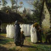 Lot 8PROPERTY OF A PRIVATE NEW ENGLAND COLLECTORJules BretonLES COMMUNIANTESsigned Jules Breton and dated 1884 (lower left)oil on canvas48 5/8 by 75 3/8 in.; 123.5 by 191.5 cmSold for $1,270,000