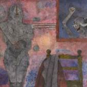 Rufino Tamayo El Fisgón (The Voyeur) signed and dated O-88 lower right oil on canvas with marble dust 37⅜ by 51⅛ in. 95 by 130 cm Est. $1/1.5 million