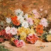 951 Minet, Louis Émile 1850 Rouen - 1920 Vernon.Öl/Lw. Blumenstillleben. Bunter Chrysanthemenstrauß. U.r. sign.  mit Widmung. 22 x 29 cm. R. Lit.: 1,2,5,11. (e2453035)800,-- EURO