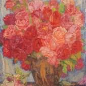 165   Hans Unger, Stillleben mit Rosen und antikisierender Vase. Wohl 1920er/1930er Jahre. Ausrufpreis: 4.000 €