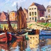 Paul Ernst Wilke (1894 - 1971)  Fischerboote im Sonnenlicht. Öl/Lw. 1927. Signiert u. datiert. 27. 94 x 121 cm / R. 119 x 145 cm. 156. Auktion 8.11.2014, Lot 1242, Limit: € 1.200