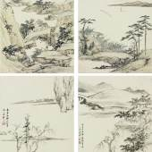 $802,000 (£606,427) $150,000 - 250,000 Zha Shibiao, Landscapes, ink and color on paper, album of twelve leaves