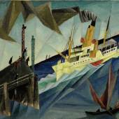 Lot 21 Property From An Important Private European Collection Lyonel Feininger Raddampfer Am Landungssteg (Side-Wheel Steamer At The Landing) Signed Feininger (upper left); signed Feininger and dated 1912 (on the reverse)  Oil on canvas 15 7/8 by 19 1/8 in. 40.3 by 48.5 cm Painted in 1912. Estimate $4/6 million Sold for $ 4,456,250