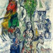 Lot 25 Property Of An Important European Collector Marc Chagall La Famille Signed Marc Chagall (lower left); signed Marc Chagall (on the reverse) Oil on canvas 51 1/8 by 34 7/8 in. 130 by 88.6 cm Painted in 1969-71. Estimate $3/4 million Sold for $ 4,400,000
