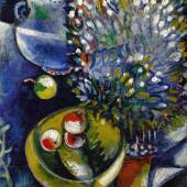 Lot 33 Property From An Important Private European Collection Marc Chagall Nature Morte Indistinctly signed M Chagall (on the reverse) Oil on burlap 24 3/4 by 19 3/4 in. 62.9 by 50.2 cm Painted in 1910-11. Estimate $4/6 million Sold for $ 4,737,500