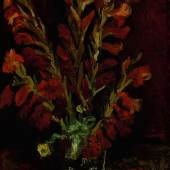 Lot 8 Property of an Important American Collector Vincent Van Gogh Nature morte: vase aux glaïeuls Signed Vincent (lower right) Oil on board laid down on canvas  20ǩ by 15Ǫ in; 51.2 by 38.8 cm Painted in Paris in the summer of 1886. Estimate $5/7 million Sold for $5,862,500