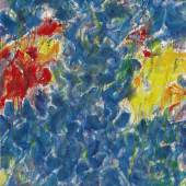 Lot 117 Sam Francis Composition signed and dated 54 on the reverse oil on canvas 31 5/8 by 25 1/2 in. 80.3 by 64.8 cm. Est. $1/1.5 million Sold for $ 2,172,500