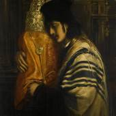 "Lot 95 Property From The Estate Of Shlomo Moussaieff Simeon Solomon Carrying The Scrolls Of The Law signed with monogram and dated 1871 (lower left); inscribed ""Rabbi Carrying the Law""/ by Simeon Solomon (on a label attached to the stretcher) oil on canvas 30 1/4 by 24 in. 77 by 61 cm. Est. $150/250,000"