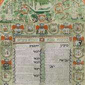 Lot 97 Property From The Estate Of Shlomo Moussaieff A Magnificent Decorated Ketubbah, Livorno: 1698 Ink, gouache and copper-plate engraving on parchment (29 ½ x 20 in.; 750 x 508 mm). Framed. Celebrating the wedding of Abraham, the son of Jacob Lopez, to Dona Luna, the daughter of Davd Marini on Wednesday, 15th of Av, 5458 (=July 23, 1698)  Est. $50/70,000