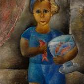 Lot 12 Property Of A Private Collection, New York Reuven Rubin Boy With Goldfish  Signed Rubin and in Hebrew (lower right) Oil on canvas 34 1/4 by 25 1/2 in. 88.3 by 64.8 cm Painted in 1929.  Est. $150/250,000