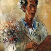 Lot 15 Property From The Ben Uri Gallery And Museum, London Reuven Rubin Self-Portrait Signed Rubin and again in Hebrew (lower left) Oil on canvas 35 3/4 by 25 in. 91 by 63.5 cm Painted in 1937.  Est. $200/300,000