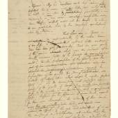 Lot 1039 Alexander Hamilton A Prevously Unrecorded Autograph Draft Of Pacificus Essay NO. VI 4 pages (10 x 7 3/4 in.; 255 x 197 mm) on a bifolium, [Philadelphia, early July 1793], with numerous revisions, emendations, and deletions; short tear at foot of both leaves, early repair to central fold. Est. $300/500,000 Sold for $ 262,500