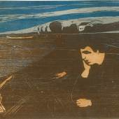 Lot 84 Property from the Collection of Catherine Woodard and Nelson Blitz, Jr. Edvard Munch Melancholy III (Schiefler 144; Woll 203) Woodcut printed in brown, light brown, blue and grey, 1902, a fine impression with fresh colors, signed in pencil, Woll's III (final) state, on thin Japan paper, framed