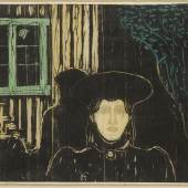 Lot 91 Property from the Collection of Catherine Woodard and Nelson Blitz, Jr. Edvard Munch Moonlight I (SCH. 81; W. 90) Woodcut printed from three blocks in black, grey, ochre, green and blue green, 1896, a fine impression, on thin Japan paper, probably printed by Lassally, framed
