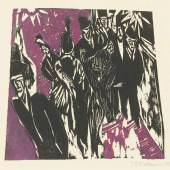 Lot 99 Property from the Collection of Catherine Woodard and Nelson Blitz, Jr. Ernst Ludwig Kirchner Strassenszene (D. H235/B; SCH. H218; G. 643/2) Woodcut printed in purple and black, 1913-14, a fine impression of this very rare woodcut, signed in pencil, dated '12', printed on heavy wove paper, framed