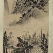 Property from a North American Private Collection Wu Zhen Studio, Among Streams and Mountains ink on paper, hanging scroll 125.4 by 48 cm., 49 ¼ by 18 7/8 in. Estimate $800/1,000,000