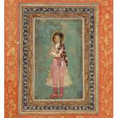 A Yogini Holding a Fan India, Deccan, Bijapur, circa 1610-20 Opaque watercolor heightened with gold on paper Image: 5 ¼ by 6 ¾ in. (12.7 by 15.2 cm) Folio: 8 ¾ by 6 ¾ in. (20.3 by 15.2 cm) Estimate $15/20,000