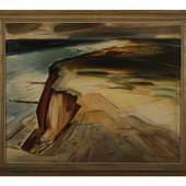 """Auktion: 28.04.2012 Frühjahrs-Auktion  Lot Nummer: 967/96 Heinz Sprenger (1914), Öl/Lw. sign. H. Sprenger, """"Rotes Kliff in Kampen auf Sylt"""", 50x60cm, 60x70cm (gerahmt), Rahmen mit Gebrauchsspuren. Limit € 250,00"""