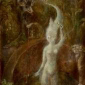 Lot 19 Leonora Carrington (1917-2011) Untitled (The White Goddess) signed lower right oil on canvas 41 3/4 by 22 in. 106 by 56 cm Painted circa 1958. Estimate $700/900,000