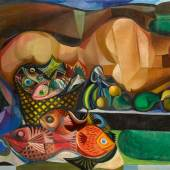 Lot 5 Emiliano di Cavalcanti Reclining Nude With Fish And Fruit signed and dated 1956 lower right oil on canvas 44 1/2 by 77 in. Estimate $1.2/1.6 million © 2017 Estate of Emiliano Augusto Cavalcanti de Albuquerque e Mello / Artists Rights Society (ARS), New York, NY