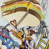 Forthcoming Exhibition: David Salle, Flying, Rainbow, Sandwich, 2019. Oil and acrylic on linen. 200,7 x 152,4 x 3,8 cm (79 x 60 x 1.5 in). © Adagp, Paris, 2019. Photo: John Berens. Currently