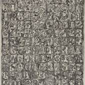 Jasper Johns Numbers 2006 Ink and crayon on Japanese paper mounted on Torinoko paper Estimate $2.5/3.5 million