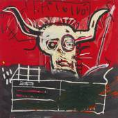 Property from the Collection of Yoko Ono Jean-Michel Basquiat Cabra Signed, titled and dated 81-82 on the reverse Acrylic and oilstick on canvas 60 1/4 by 60 1/4 inches Estimate $9/12 million © 2017 The Estate of Jean-Michel Basquiat / ADAGP, Paris / ARS