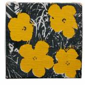Andy Warhol Flowers signed, dated65and dedicatedTo Jean V Love Andy Warholon theoverlapacrylic and silkscreen ink on canvas5 by 5 in. 12.7 by 12.7 cm. Estimate $150/200,000