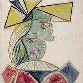 Lot 21 PROPERTY FROM A DISTINGUISHED COLLECTION, SOLD TO BENEFIT CHARITABLE ORGANIZATIONS INCLUDING THE ASPCA Pablo Picasso Buste de femme au chapeau Oil on canvas 255⁄8 by 211⁄4 in. Painted on May 27, 1939 Estimate $18/25 million © 2017 ESTATE OF PABLO PICASSO/ARTISTS RIGHTS SOCIETY (ARS), NEW YORK