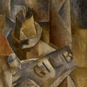 Lot 24 Property from the Prestigious Collection of Roger Dutilleul, Paris Georges Braque Le Pyrogène et le quotidien Gil Blas Signed Braque (on the reverse) Oil on canvas 13 3/4 by 10 3/4 in. Painted in 1909 Estimate $2.5/3.5 million © 2017 ARTISTS RIGHTS SOCIETY (ARS), NEW YORK / ADAGP, PARIS