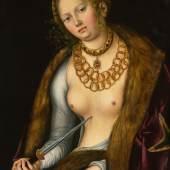 Lot 10 Property From A European Private Collection Lucas Cranach the Elder Lucretia oil on limewood panel 23 3/4 by 18 1/2 in.; 60 by 47 cm. Estimate $2/3 million Sold for $ 2,895,000