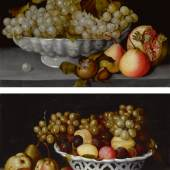 Lot 20 From The Collection Of J. E. Safra Fede Galizia A Still Life Of A Porcelain Bowl Of Grapes On A Stone Ledge With A Medlar, Quinces, A Pomegranate And A Wasp; A Still Life Of A Porcelain Basket Of Plums And Grapes On A Stone Ledge With Pears Quantity: 2 a pair, both oil on panel each: 10  3/4  by 15 1/4  in.; 27.3 by 38.7 cm. Estimate $2/3 million