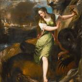 Lot 27 Property From A European Private Collection Tiziano Vecellio, called Titian, and workshop Saint Margaret signed lower right near the skull: TITIANV[S] oil on canvas 78 by 66 in.; 198 by 167.5 cm.  Estimate $2/3 million Sold for $ 2,175,000