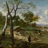 Lot 45 Property From The Collection Of J.E. Safra Jan Wijnants and Adriaen van de Velde Wooded Evening Landscape With A Hunter And His Dogs, Another Hunter On Horseback Conversing With A Peasant, A Fishermen And A Falconer Carrying A Hoop Of Falcons On A Path, A Wagon And Other Figures By A Lake Beyond signed with initials lower left:  J. W. oil on canvas 59 7/8  by 75 1/4  in.; 152 cm by 191.1 cm Estimate $2/3 million