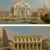 TLot 54 Property From A European Private Collection Giovanni Antonio Canal, called Canaletto Venice, The Churches Of The Redentore And San Giacomo; Venice, The Prisons And The Bridge Of Sighs, Looking Northwest From The Balcony Quantity: 2 a pair, both oil on canvas each: 18 3/8 by 30 1/4 in.; 46.7 by 76.8 cm. Estimate $3/4 million Sold for $ 4,179,500 Bildquelle: Sotheby's