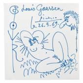 2055 Picasso, Pablo  1881 Málaga - 1973 Mougins. «Eros». Blaue Tinte auf Papier, auf Unterlagekarton montiert. Limit: 95000,- EUR