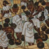 """Property From A Private Collection ABDULRAHIM APABHAI ALMELKAR Sorting The Fish Gouache and ink on cardboard Signed and dated 'AA Almelkar / 1955' lower right and further signed, dated, titled and inscribed 'MALABAR / """"SORTING THE FISH"""" / BY / A.A. ALMELKAR / Rs. 150 / 1955' ON reverse 9 5/8 by 12 1/8 in., 24.8 by 31 cm. Painted in 1955 Estimate $2/3,000"""